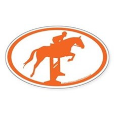 Hunter Jumper Over Fences (orange) Oval Decal