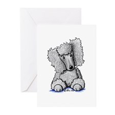 Silver Poodle Greeting Cards (Pk of 10)