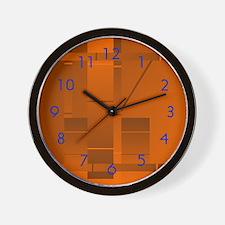 Orange Rectangle Art Wall Clock