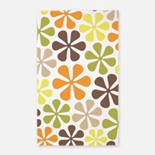 Abstract Flowers Retro Cols Area Rug