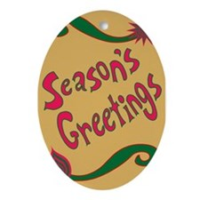 Holiday Greetings Oval Ornament