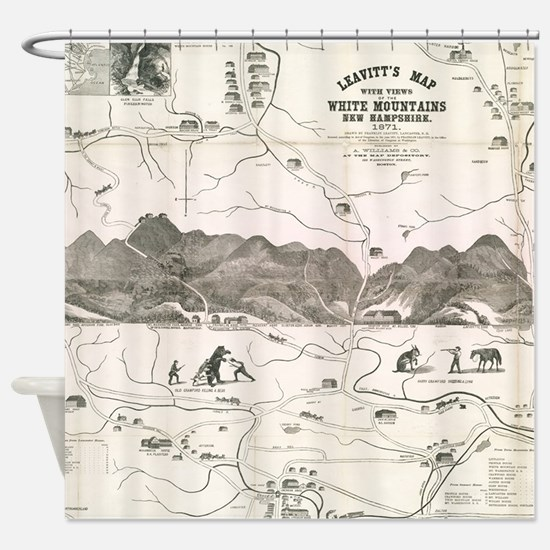 Vintage Map of The White Mountains Shower Curtain