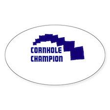 Cornhole Champion Oval Decal