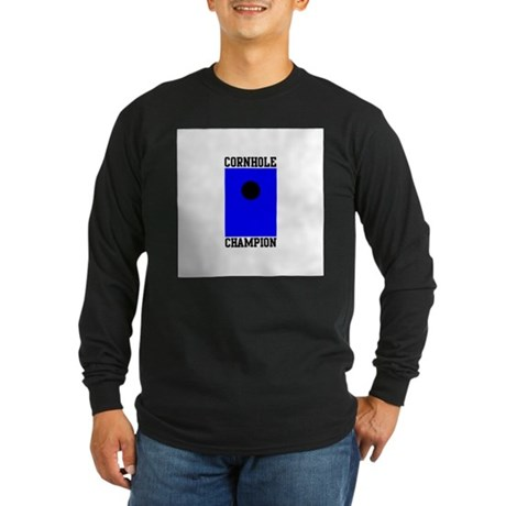 Cornhole Champion Long Sleeve Dark T-Shirt