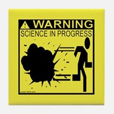 Science In Progress (yellow) Tile Coaster