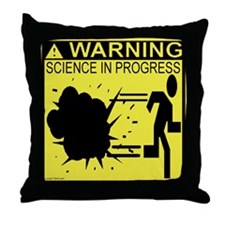 Science In Progress (yellow) Throw Pillow