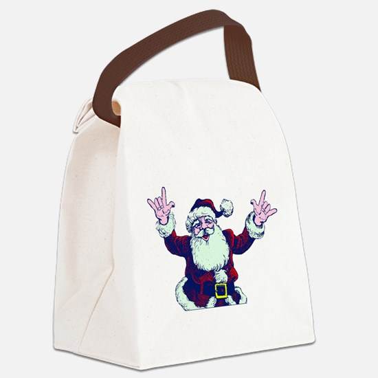 ILY ASL Santa Canvas Lunch Bag