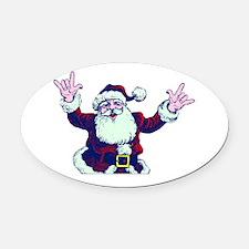 ILY ASL Santa Oval Car Magnet
