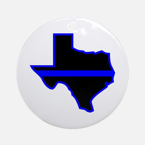 Texas Blue Lives Matter Round Ornament