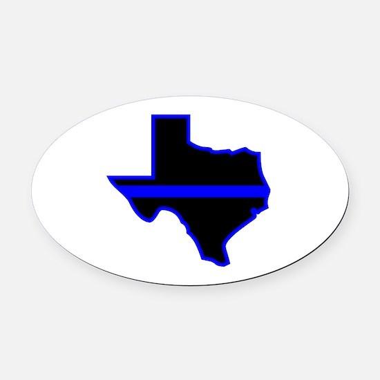 Texas Blue Lives Matter Oval Car Magnet