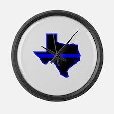 Texas Blue Lives Matter Large Wall Clock