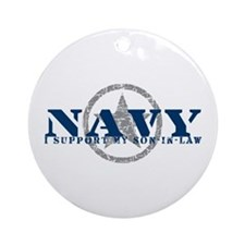 Navy - I Support Son-in-Law Ornament (Round)