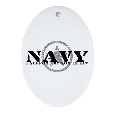 Navy - I Support Son-in-Law Oval Ornament