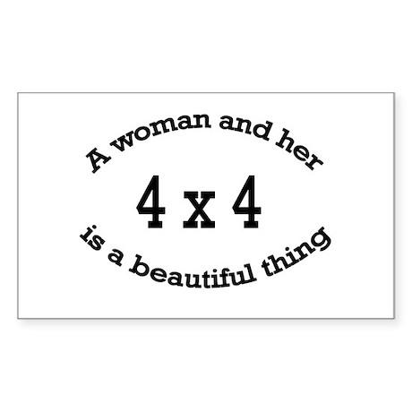 A woman and her 4x4 is a beau Sticker (Rectangular