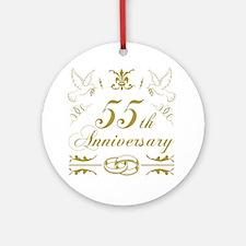 Cute 55 years anniversary Round Ornament