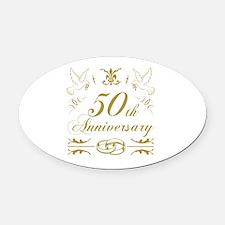 Cute 50th wedding anniversary Oval Car Magnet