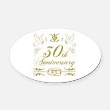 Cute Gold wedding Oval Car Magnet