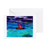 Red boat Greeting Cards (Pk of 10)