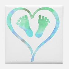 Baby Feet Heart in Watercolor Tile Coaster