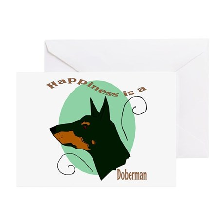 Happiness is doberman Greeting Cards (Pk of 10
