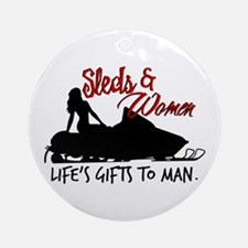 Sleds & Women Ornament (Round)