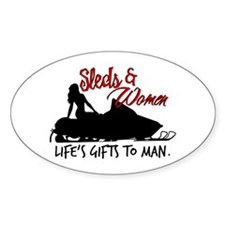 Sleds & Women Oval Decal
