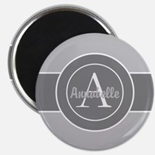 Gray Monogram Personalized Magnets