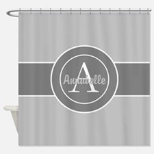 Gray Monogram Personalized Shower Curtain