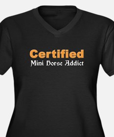 Mini Horse Addict Women's Plus Size V-Neck Dark T-
