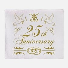 25th Wedding Anniversary Throw Blanket