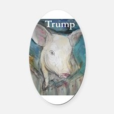 Anti Trump, pig Oval Car Magnet