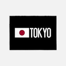Japan: Japanese Flag & Tokyo 5'x7'Area Rug