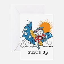 Surfs Up Shark Greeting Cards