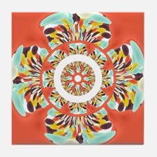 Colorful mandala Tile Coaster