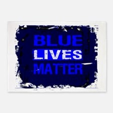 BLUE LIVES MATTER BLUE AND BLUE 5'x7'Area Rug