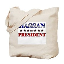 HASSAN for president Tote Bag