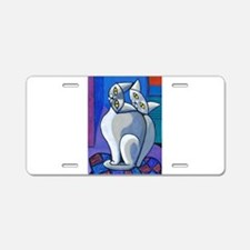 'Two Cats on a Cushion' Aluminum License Plate