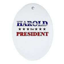 HAROLD for president Oval Ornament