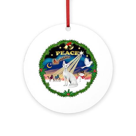 Peace Wreath & Devonshire Rex Ornament (Round)
