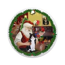 Wreath-Santa & BW cat Ornament (Round)