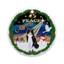 Wreath (Peace) & Cat (SH-Blk-Wht)(Ornament (Round)
