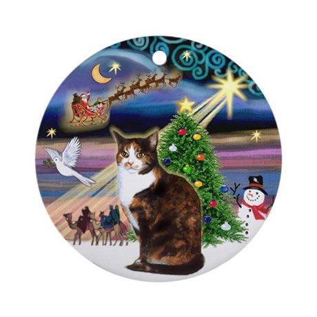 xmas magic amp calico cat ornament round by prettyornaments