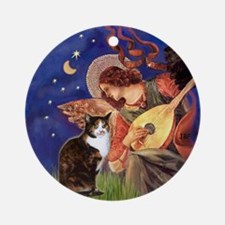 Mandolin Angel & Calico cat Ornament (Round)