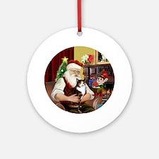 Santa's Calico cat Ornament (Round)