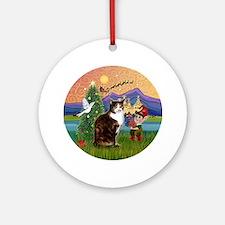 Xmas Fantasy / Calico cat Ornament (Round)