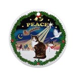 Wreath (Peace) & Calico cat Ornament (Round)