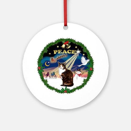 Wreath (Peace) & Calico cat Ornament (Round)