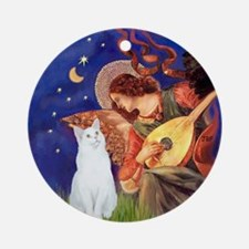 Mandolin Angel & white cat (sh) Ornament (Roun