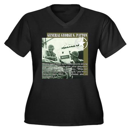 General G.S. Patton Women's Plus Size V-Neck Dark