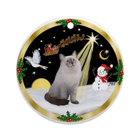 Night Flight & Ragdoll cat (#1) - Ornament (Round)